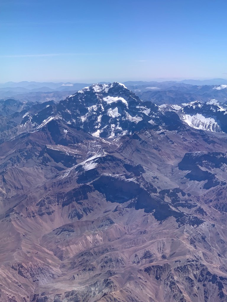 Clear view of Aconcagua as the flight approached Santiago - the highest peak in the Americas.
