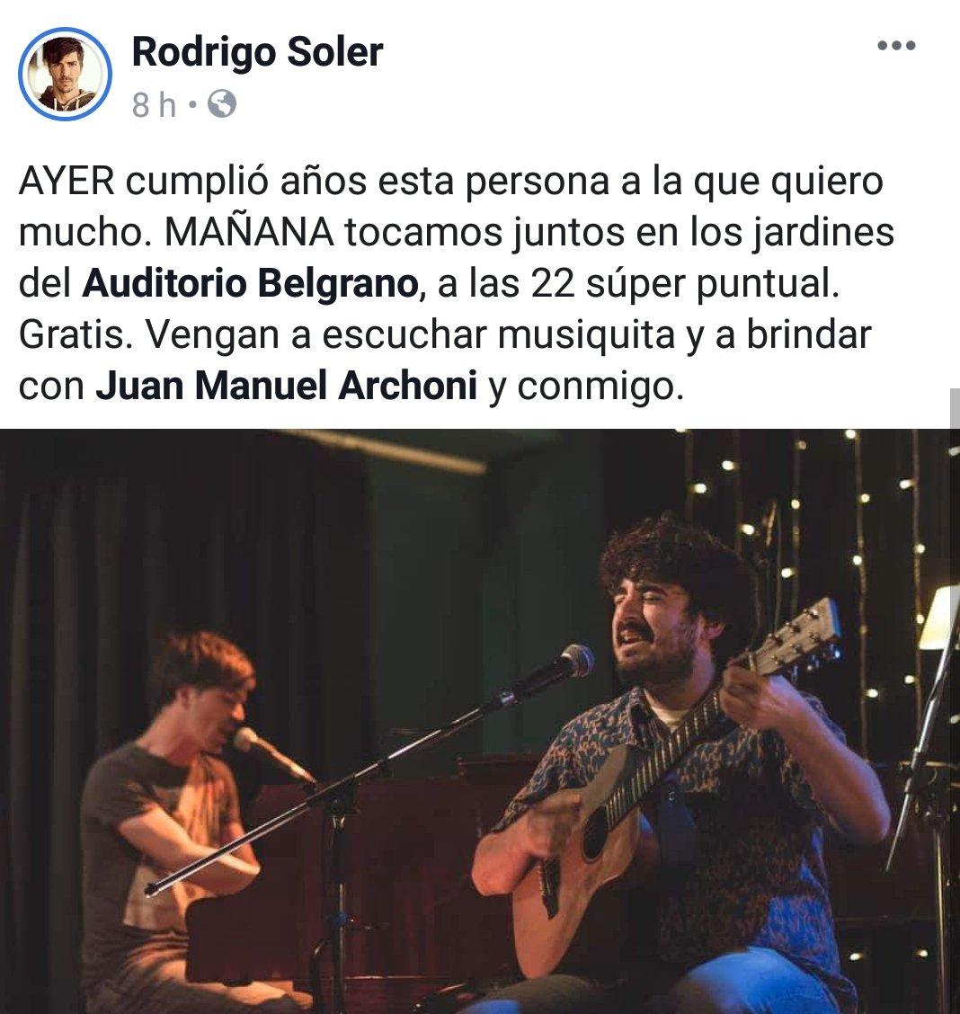 Mañana tocan @rodrigofsoler y Juan Archoni. No te lo pierdas.