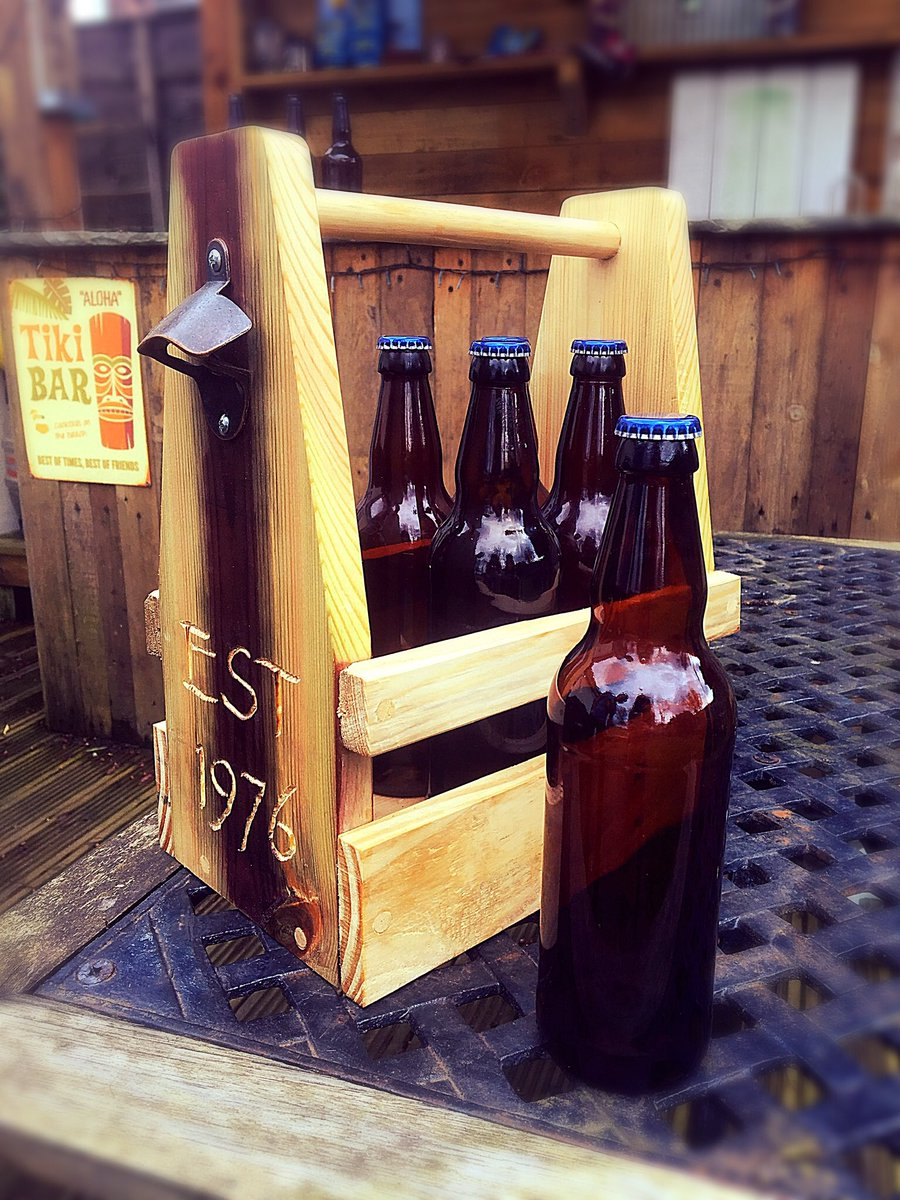 New product alert: Our new beer caddy.  Holds 6 bottles, has an opener on the side and can be personalised too! #handmade traditionally with dowels - not a screw in sight. A fabulous gift!  #wnukrt #womaninbiz #hartysbrand  https://hartys.co.uk/store/beer-bottle-caddy-holder …