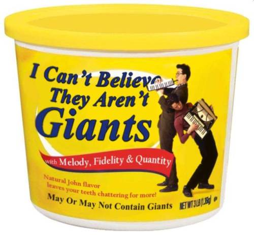 Margarine tin with the Johns edited on. Caption: May Or May Not Contain Giants.