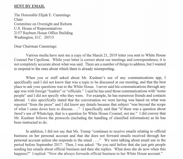 JUST IN: Kushner&#39;s attorney, Abbe Lowell disputes elements of Cummings&#39; letter, says he told lawmakers to talk to the White House about Kushner&#39;s WhatsApp use.   https://www. politico.com/story/2019/03/ 21/elijah-cummings-jared-kushner-encrypted-app-1230978 &nbsp; …  <br>http://pic.twitter.com/vkxbEf6bJO