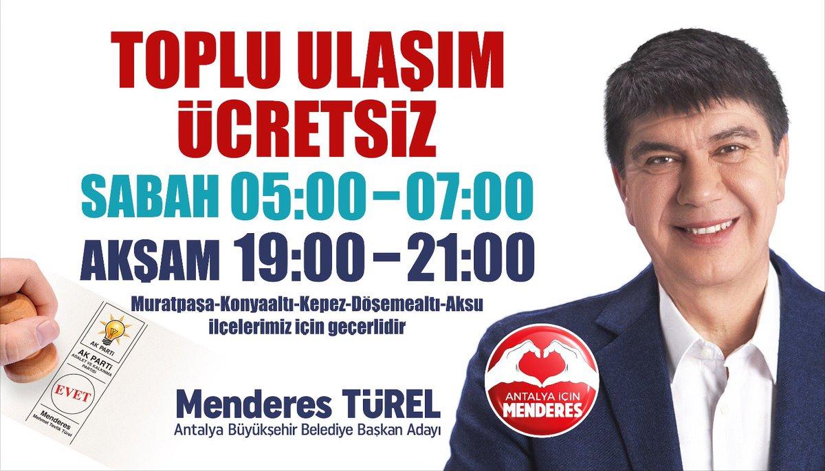 Hemşehrilerimize müjdemiz var 😊   Muratpaşa, Konyaaltı, Kepez, Döşemealtı ve Aksu ilçelerimizde sabah 05:00 - 07:00 ve akşam 19:00 - 21:00 arası toplu ulaşımı ücretsiz yapıyoruz.   Hayırlı olsun Antalyam
