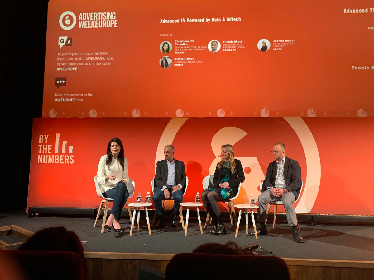 Cord-cutting #streaming solutions are the new norm; we don&#39;t watch TV like we used to. #TBT to @AWEurope_ yesterday, where our expert, Christiane De Carvalho, moderated a panel where leaders from @SambaTelevision, @HondaUK and @SpotXHQ discussed the future of #advancedTV.<br>http://pic.twitter.com/c5KKAPiD9o