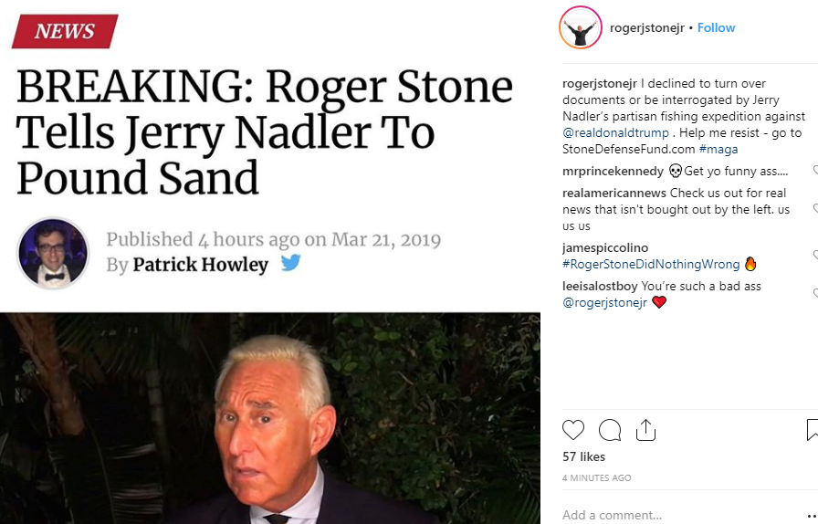 "LEFT: Stone brags just now on Instagram about telling House Judiciary Committee to ""pound sand.""  Right: Stone's lawyer:  ""This reply inresponseto the request by you, is written with the utmost respect for the Committee and its staff."""