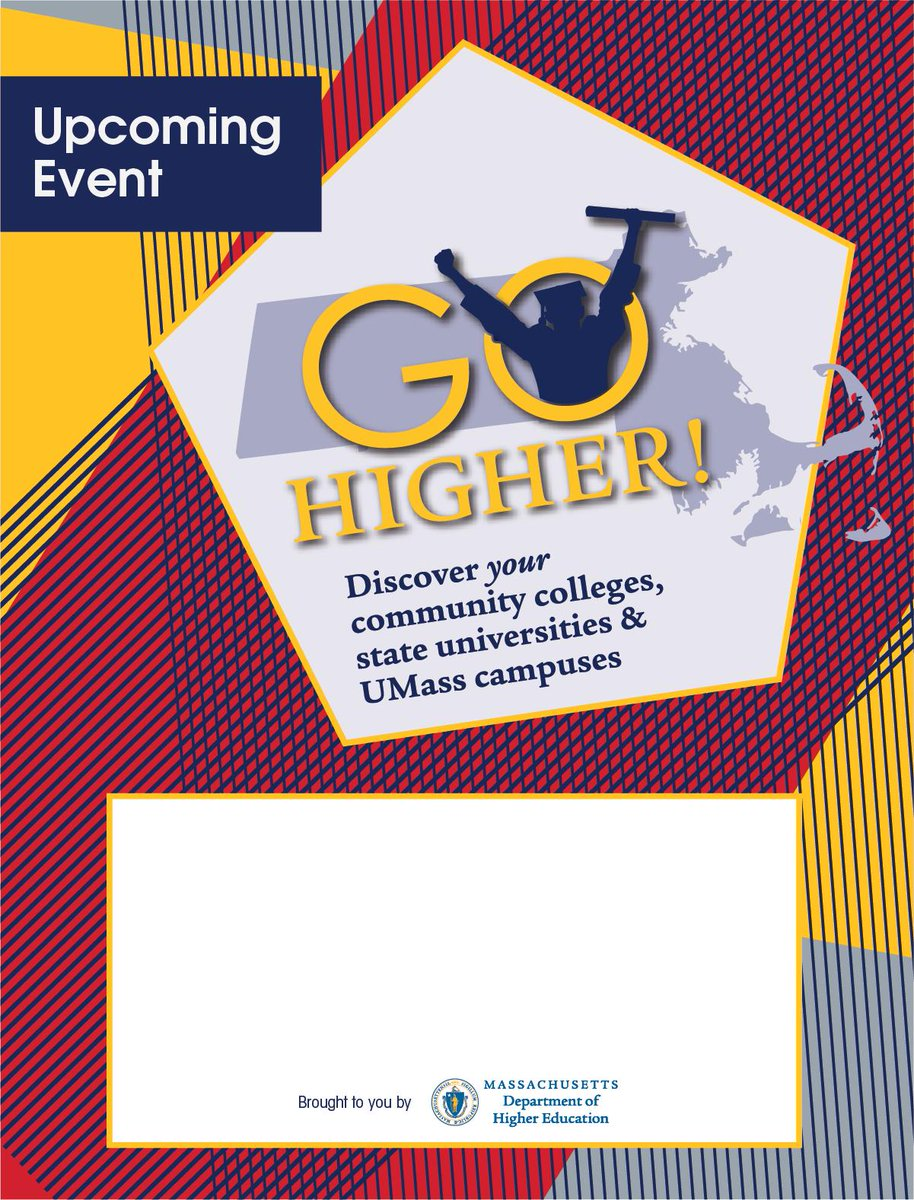 Learn about education opportunities at @BunkerHillCC, @MassArt, @MassBayCommCol, @MMAAdmissions, @Fitchburg_State, @SalemState @UMassBoston, @Worcester State and more at #GoHigher on April 2nd here at RCC.  For details, visit: http://ow.ly/JhdI30o8BVxpic.twitter.com/Q974YWW36O