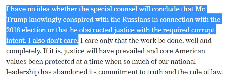 "Weird: Comey says ""I ... don't care"" whether Mueller concludes Trump colluded or obstructed justice.  He seems to be saying he's not *invested in a particular outcome,* but it sure is confusingly written.  https://www.nytimes.com/2019/03/21/opinion/james-comey-mueller-report.html …"