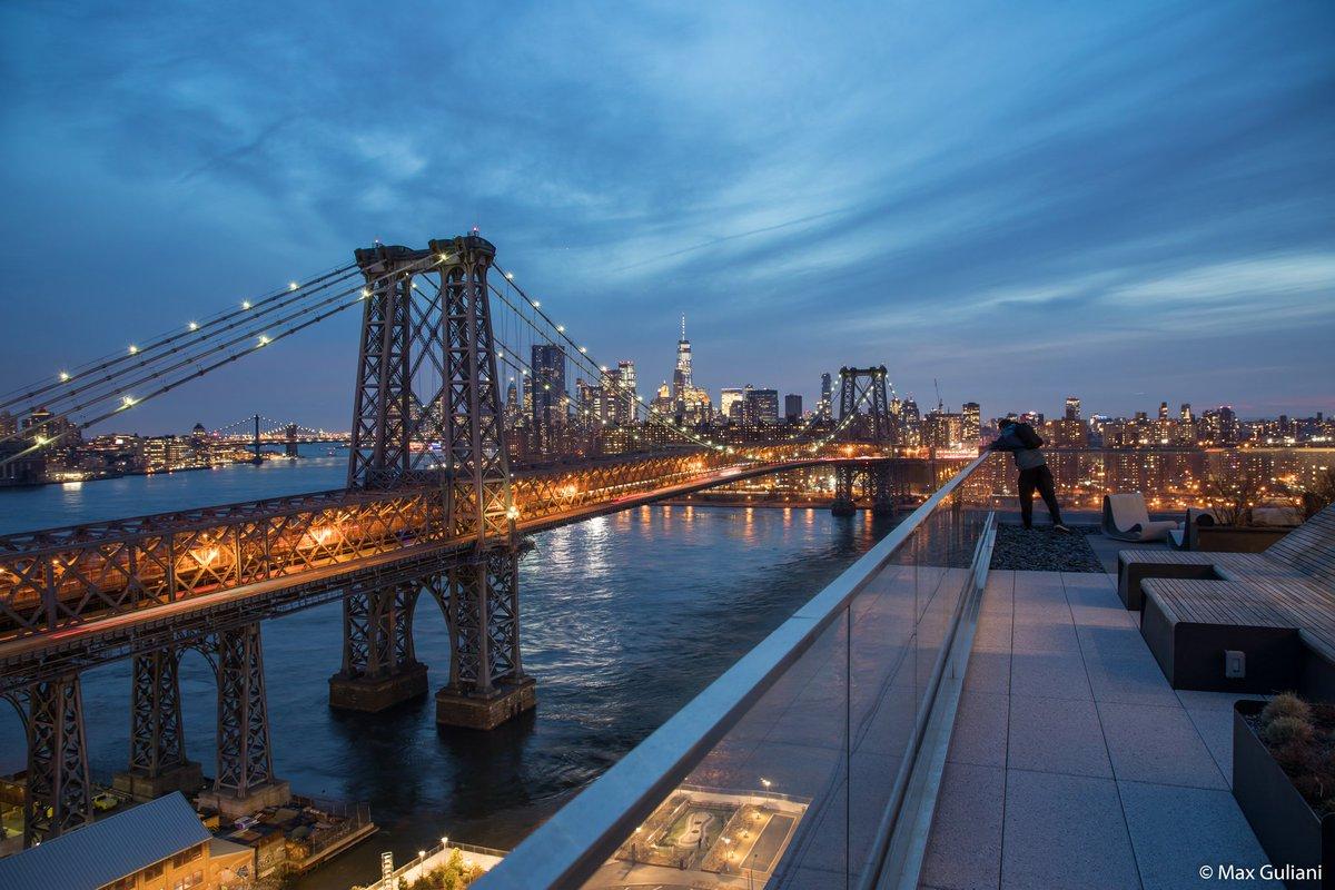 Yesterday's nightfall over the Williamsburg Bridge from 325 Kent #NYC