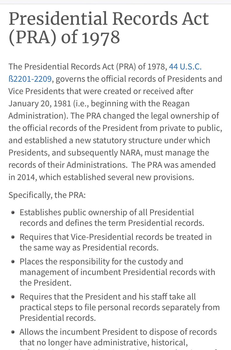 Presidential Records Act = law. Can't just WhatsApp your way around it.  https://www. archives.gov/presidential-l ibraries/laws/1978-act.html &nbsp; … <br>http://pic.twitter.com/hL69szBeQV
