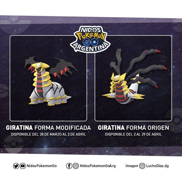 Giratina forma Origen y forma Modificada en Pokémon GO hecho por Nidos Pokémon GO Argentina