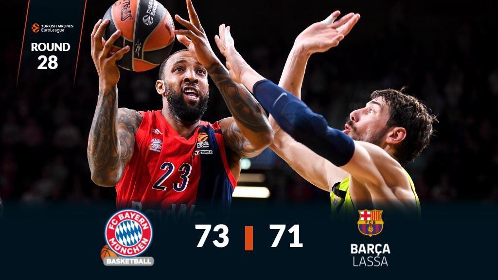🏀 Final en Munich   ✅ @fcb_basketball 73 ❌ @FCBbasket 71  #EuroLeague