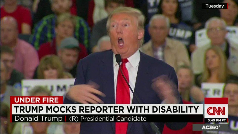 hey, remember when you mocked a disabled reporter? that was pretty fun wasn&#39;t it? the crowd went wild and so you did it some more! I hope you rewarded yourself with THREE scoops that day <br>http://pic.twitter.com/QtRMvcFAjI