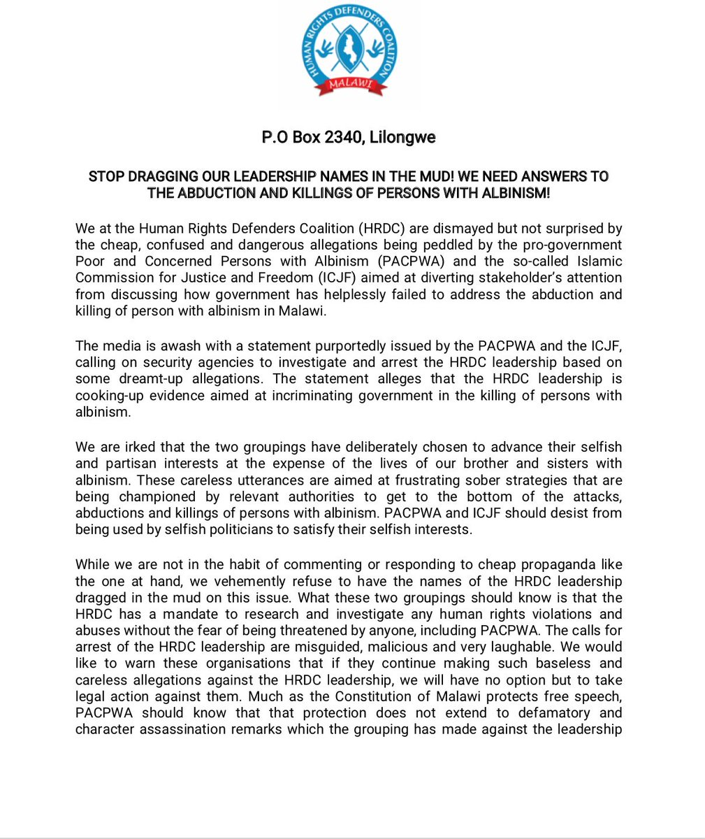 The SAHRDN is disturbed at seemingly carefully orchestrated attacks against Human Rights Defenders Coalition  HRDC leaders by pro-government GONGOS the PACPWA and ICJF. This seems to mark the beginning of a sustained attack on HRDS ahead of elections in #Malawi #ProtectCivicSpace