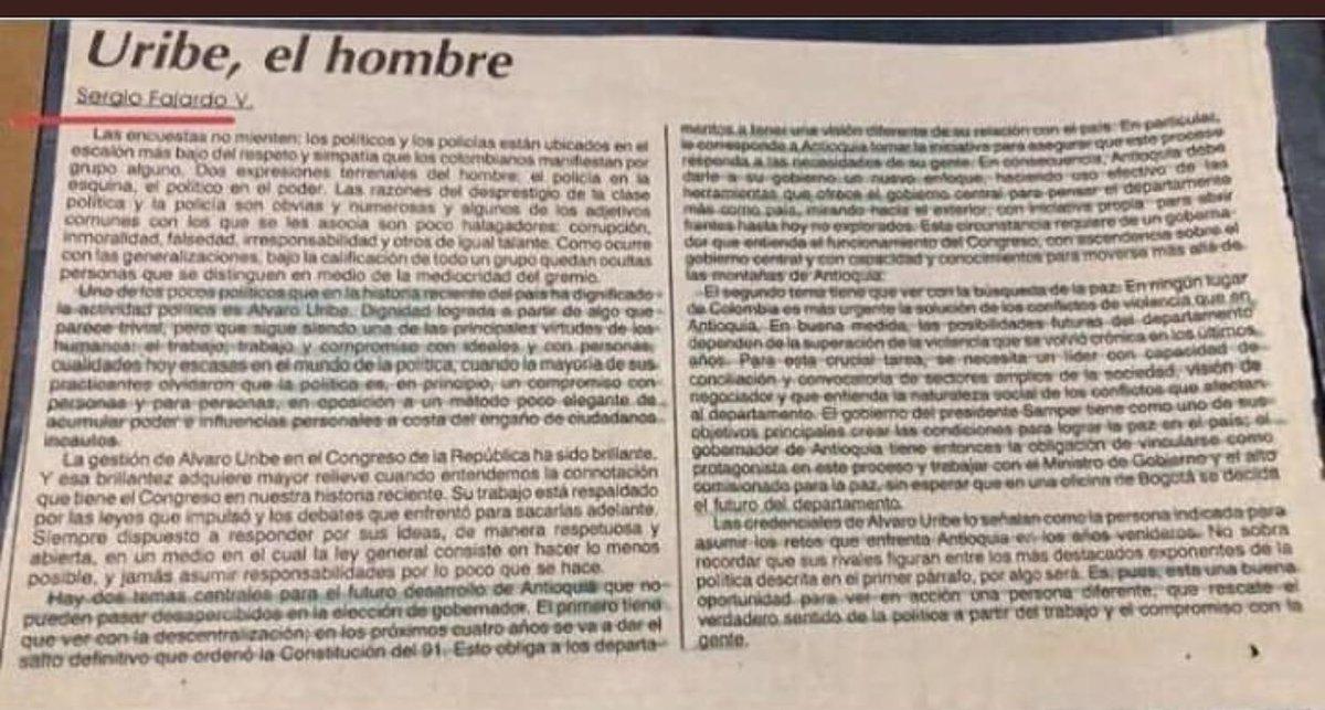 """Santiago Moure on Twitter: """"""""Uno de los pocos políticos que en la historia  reciente del país ha dignificado la actividad política es Álvaro Uribe""""  Sergio Fajardo.… https://t.co/4EyB5YR4PD"""""""