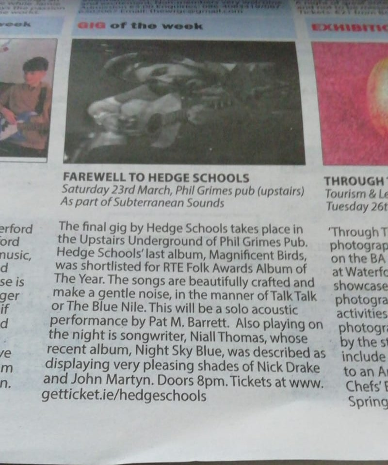 Gig of the week @waterfordtoday  @Hedge_Schools & @niallthomas  @philgrimespub  Be there....