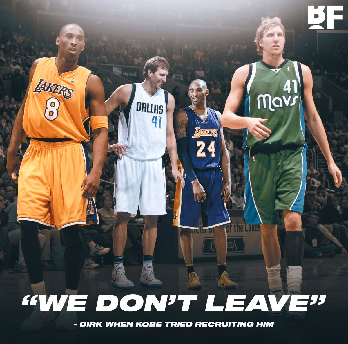 """""""I said 'Dirk, listen, I know you're not leaving Dallas, I get it, but I gotta make the call, what do you think?' He says 'Yeah man you're right, bro, I'm a lifer like you man, we don't leave.""""  - Kobe Bryant on when he tried recruiting Dirk Nowitzki during free agency"""