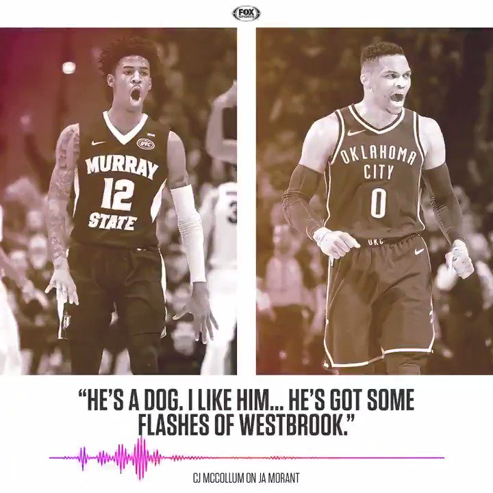 """""""He's a dog... he's got some flashes of [Russell] Westbrook.""""  @CJMcCollum sees a special player in Ja Morant."""