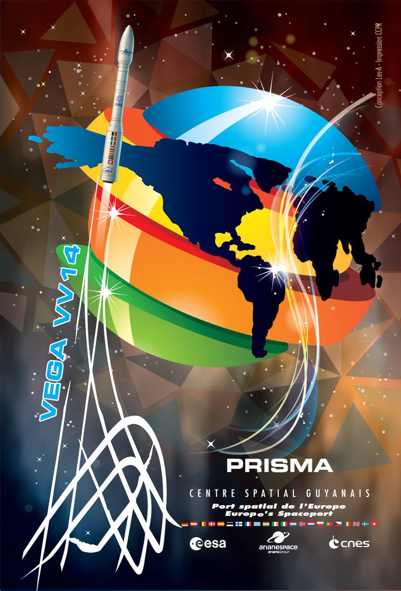 One hour until liftoff of a four-stage Vega launcher from French Guiana with Italy's PRISMA Earth observation satellite. Watch the launch live at 9:50:35pm EDT (0150:35 GMT): https://spaceflightnow.com/2019/03/21/vega-vv14-mission-status-center/…