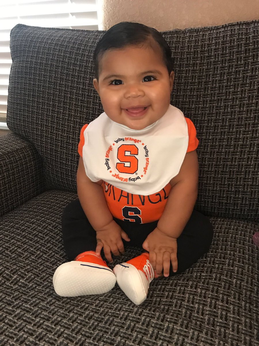 Good luck to @Cuse_MBB from the cutest little orange around, my niece Rose 🧡🍊🏀 #babyballer #OrangeNation #CuseGameDay #MarchMadness