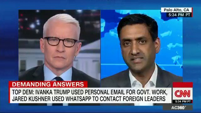"Dem. @RepRoKhanna calls reports Kushner was using WhatsApp to communicate with foreign officials ""ironic"": Pres. Trump ""ran his whole presidential campaign accusing Hillary Clinton of having a private server. ... Here you have something that's much worse."" https://cnn.it/2unlJHW"