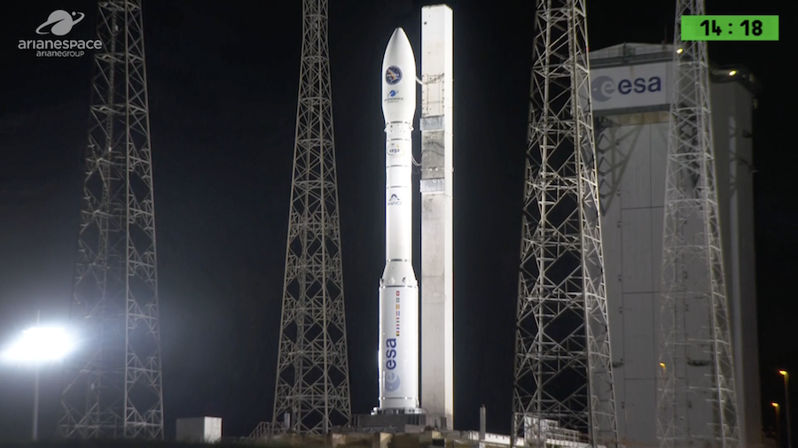 Arianespace's live broadcast of tonight's Vega launch in French Guiana has started. Liftoff remains set for 9:50pm EDT (0150 GMT). WATCH LIVE: https://spaceflightnow.com/2019/03/21/vega-vv14-mission-status-center/…