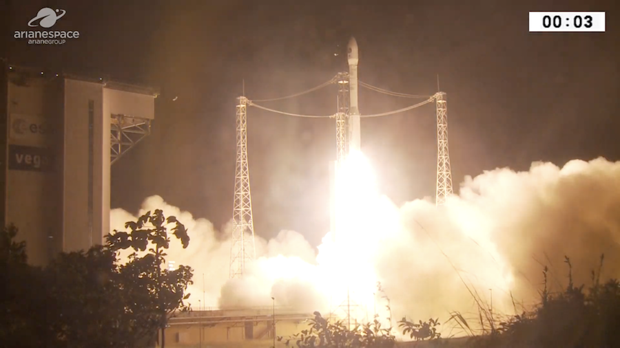 LIFTOFF! The Vega rocket has lifted off with PRISMA, an Italian Earth observation satellite with an innovative camera to monitor vegetation, water quality and natural disasters from orbit. https://spaceflightnow.com/2019/03/21/vega-vv14-mission-status-center/…