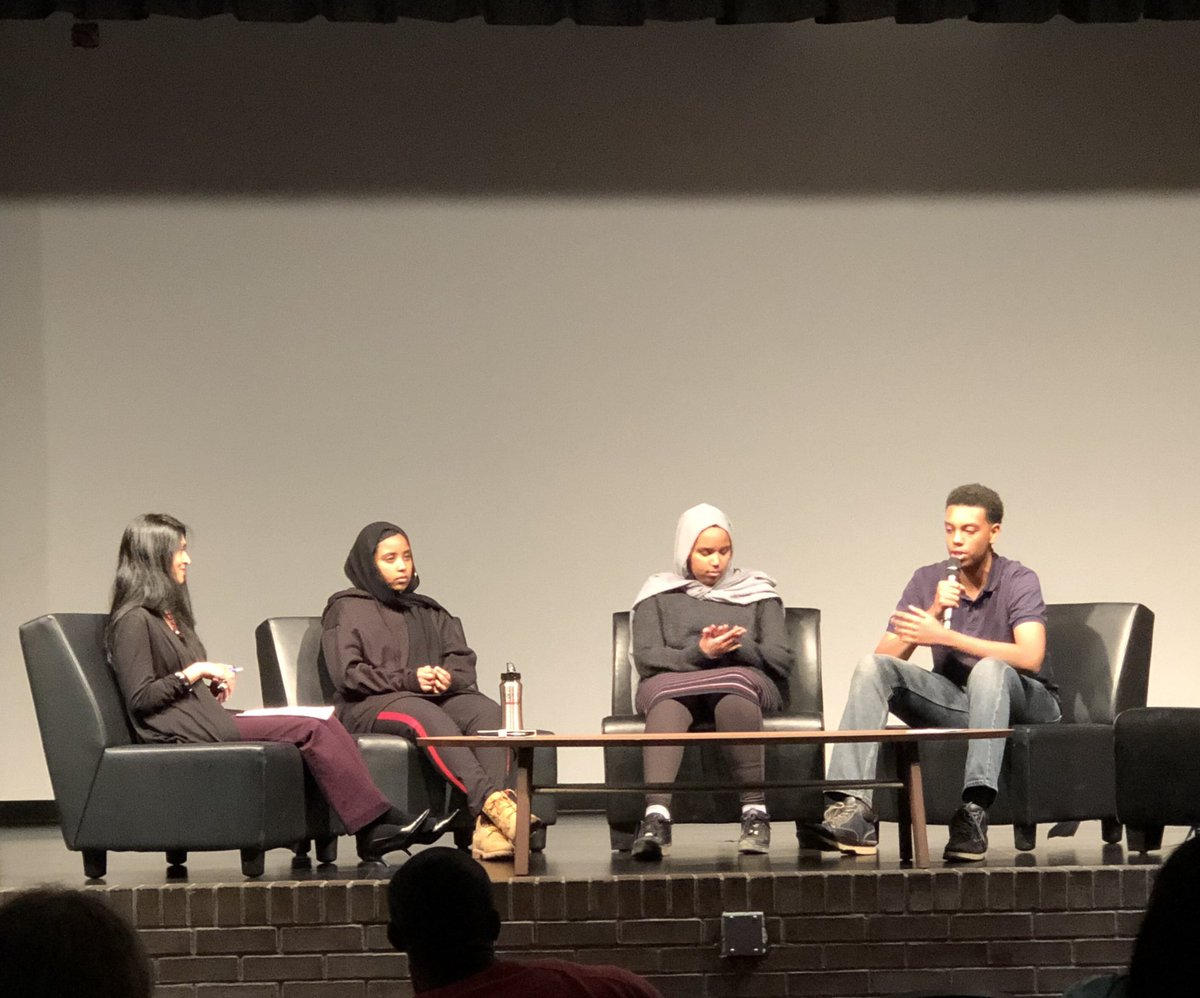 """""""Allyship is a verb, not a noun."""" Listening carefully to our student and adult panelists, and learning more about our call to action at tonight's #SpeakUp event at @KitchLibrary. #EliminateRacism @Deepa4Equity @RanneyElaine @wrdsb @PreventingCrime<br>http://pic.twitter.com/mkwHOZno3T"""