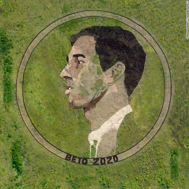 """This Beto O'Rourke crop circle stretches across 2 acres of rural farmland near the airport in Austin, Texas. The artist behind it describes the work as a """"grass-roots"""" project. https://cnn.it/2Fste6P"""
