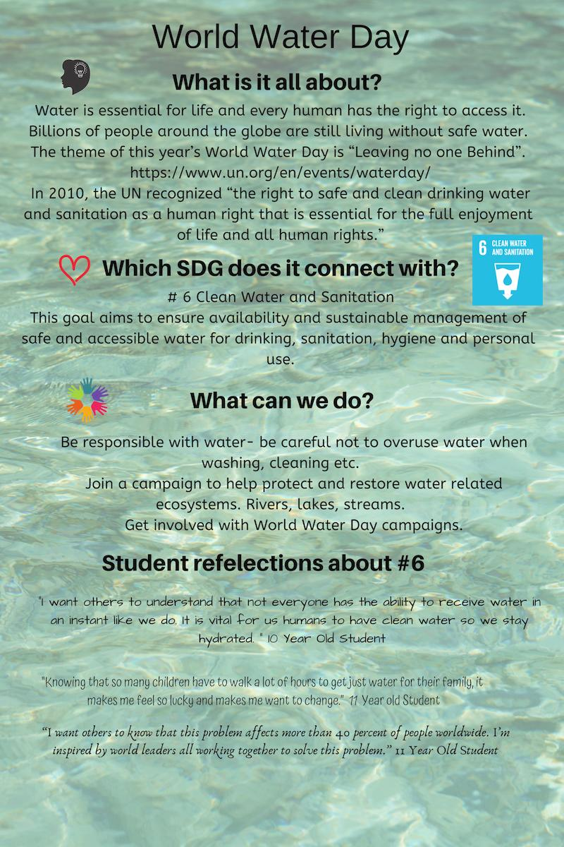 World Water Day. Educators Snapshot. What is it all about? Why is it important? What can we do to help? Think, Feel, Act! #TeachSDGs  #GlobalGoals #WorldWaterDay