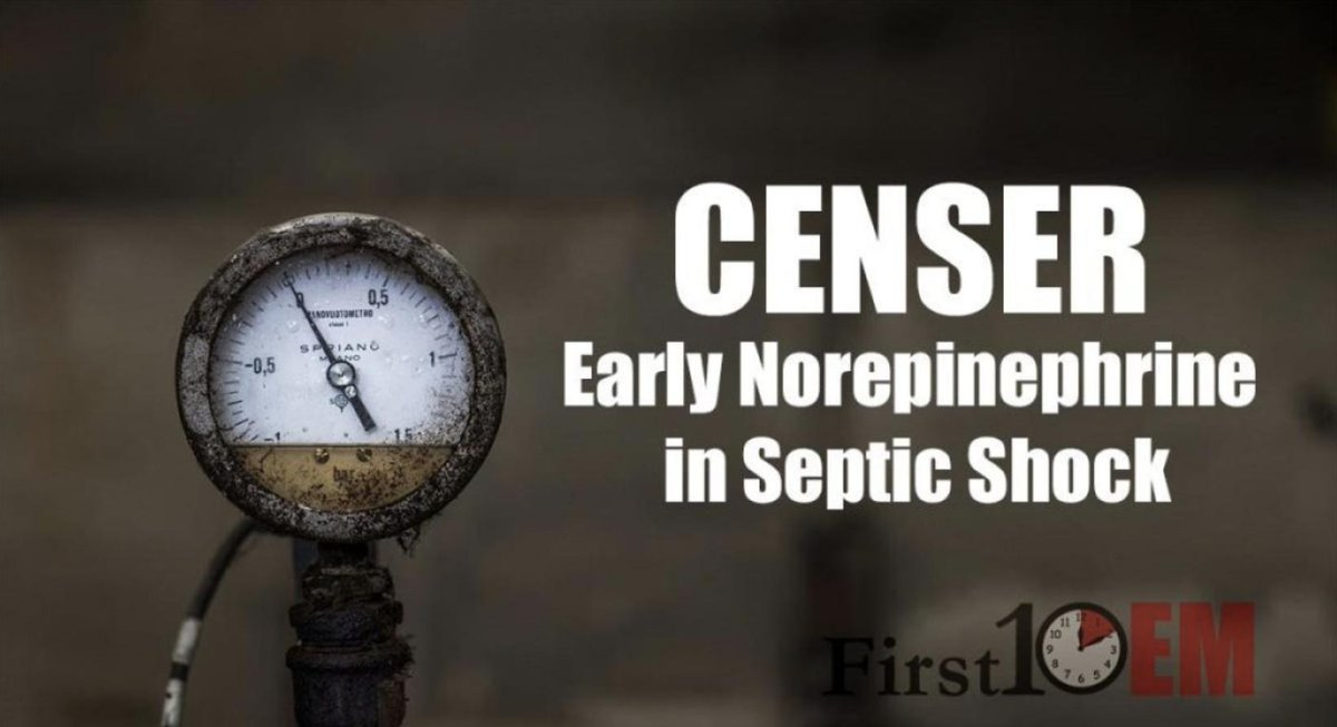 CENSER: Early Norepinephrine in Septic Shock via @First10EM  https:// first10em.com/censer-early-n orepinephrine-in-septic-shock/ &nbsp; …  #FOAMed #FOAMcc  Biggest issue with this trial is that primary outcome is not a pt oriented outcome (POO). Raising BP is a monitor oriented outcome (MOO)  MOO ≠ POO <br>http://pic.twitter.com/rZI18CoMUF