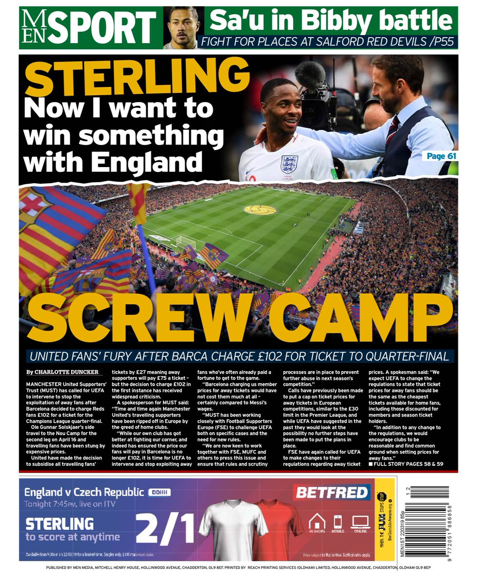 Friday 22nd March 2019 Manchester Evening News back page: SCREW CAMP #FCB #MUFC #UCL #ChampionsLeague