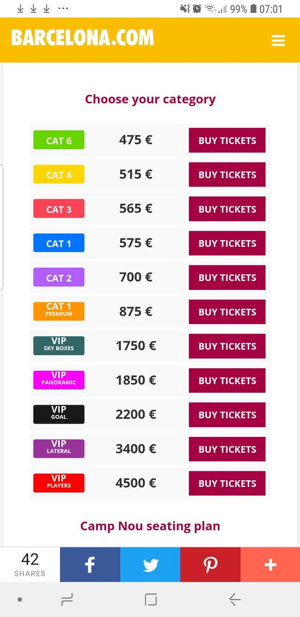 Did you know that @FCBarcelona are selling tickets to UK based fans only online  starting from €475 in the lowest Category! 🤠 you can't buy these unless you have UK Ip address. #MUFC #UCL #Barca Mes que in Club 🤔