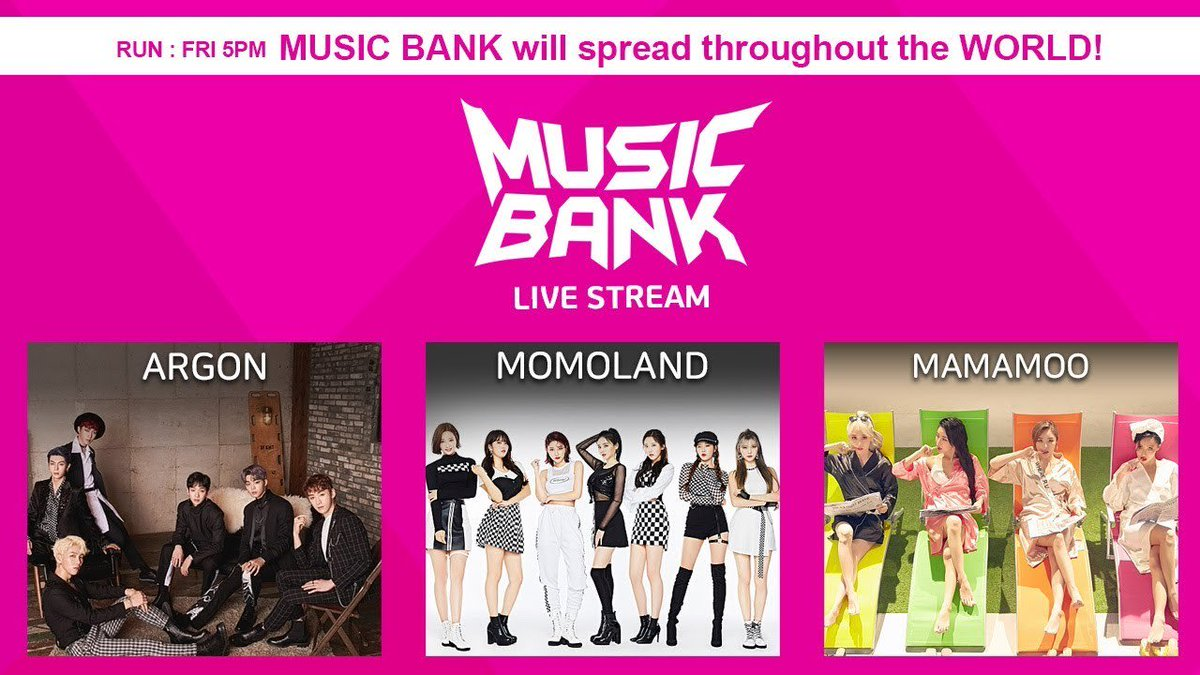 WATCH LIVE: #MAMAMOO, #MOMOLAND, #TXT, And More Perform On 'Music Bank'  https://t.co/31Vo5zDYXa https://t.co/bQ5GMxG9fU