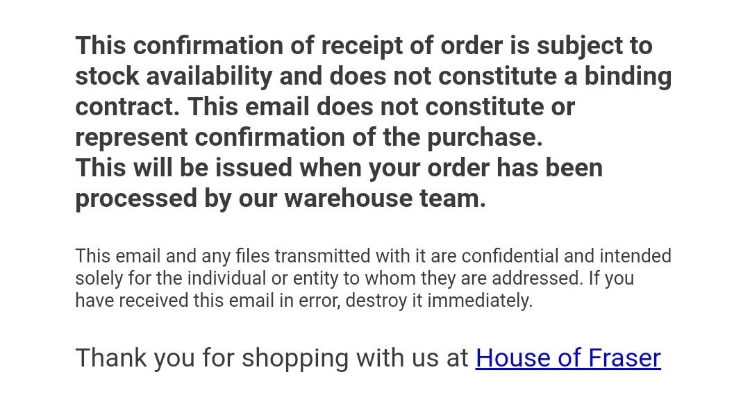 @houseoffraser #houseoffraser Ordered a bag yday,wasn&#39;t a preorder one,and got this  http:// email.so  &nbsp;   the moneys gone but theres no guarantee I&#39;ll get the bag?why take the order if you can&#39;t guarantee it&#39;s actually in stock?<br>http://pic.twitter.com/jWFbDrCL63