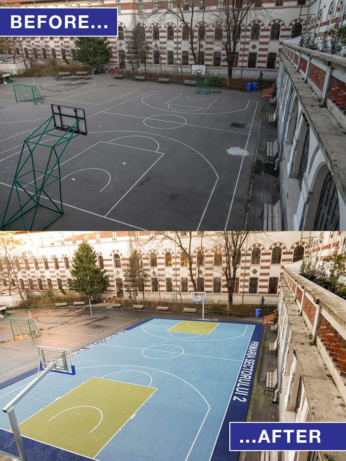 #BeforeAndAfter With summer fast approaching, transform outdated concrete surfaces into colourful play surfaces with Sport Court® Powergame™ #SportsCourtFlooring! Take a look here: https://t.co/b3rHvUtdtK https://t.co/yXXQ5LEXNg