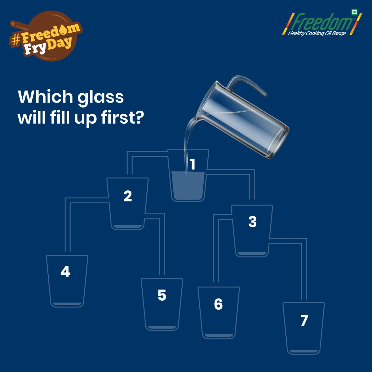 Can you crack this puzzle? Which glass do you think would get filled with water first? Just concentrate and look for the water flowing through the glasses. Tag your friends to see if they can guess it right. #FreedomFryDay #Comment #Share #Like #TagAFriend  http://www. freedomhealthyoil.com  &nbsp;  <br>http://pic.twitter.com/yQqGikmpjT