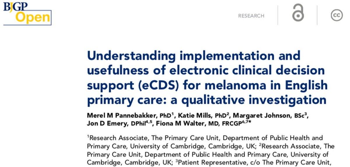 Bjgp Open Journal On Twitter An Electronic Version Of The Melanoma 7 Point Checklist Embedded In The Medical Record Was Easy To Use Time Efficient And Helped With Patient Gp Communication Https T Co Ccxocrqajv Fmw22 Profjonemery Katielmills