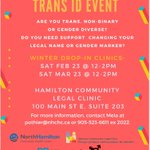 Image for the Tweet beginning: Trans ID Clinic happening TOMORROW