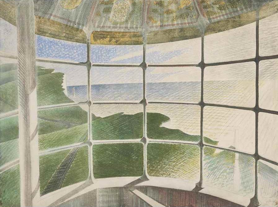 Beachy Head Lighthouse (Belle Tout) by Eric Ravilious 1939 (Private Collection). Sussex. <br>http://pic.twitter.com/6N9CvK8ONN