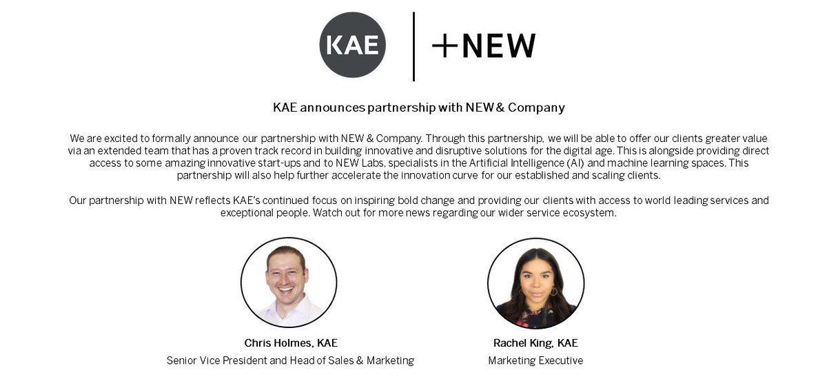 *PARTNERSHIP ANNOUNCEMENT*  KAE announces partnership with NEW & Company, expanding both business's ecosystems and providing more value to clients  #partnership #fintechnordic #collaboration  https://kae.com/ideabank/blog/partner-announcement/…