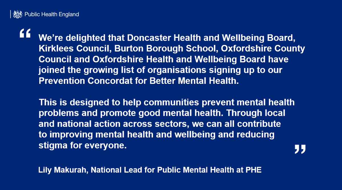 More organisations have committed to preventing mental health problems and promoting good mental health: https://bit.ly/2wALnt0