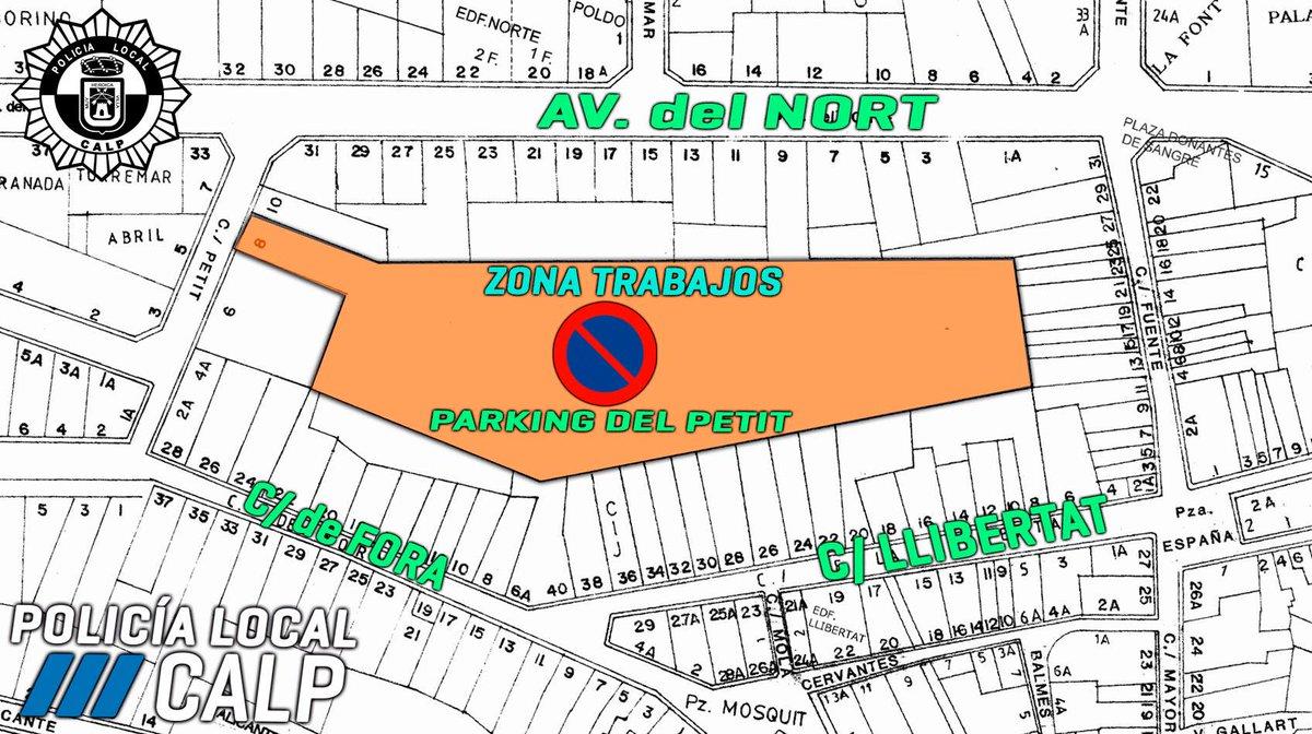 ‼️A partir del pròxim dilluns, 25 de març, es prohibeix l'estacionament en l'aparcament situat entre el carrer de Fora i l'avinguda del Nord per obres.