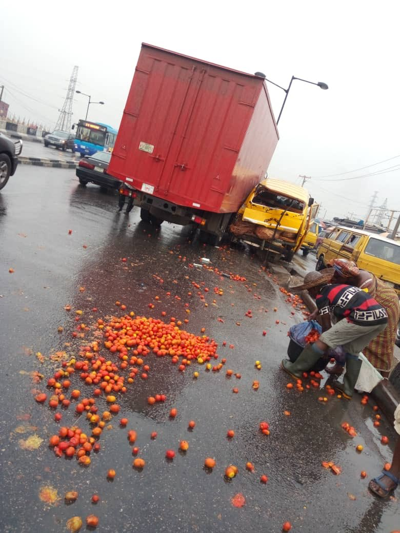Accident Involving A Danfo & A Truck In Mile 12, Lagos,  Caused By Over Speeding