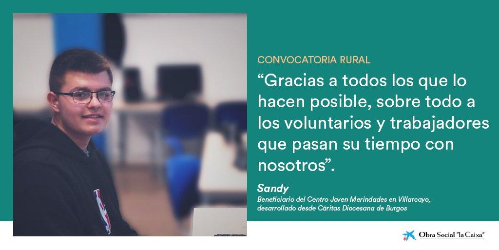 Sandy es uno de los menores que participa en las actividades de @CEDERmerindades. Con @CaritasBurgos y #ConvocatoriaslaCaixa trabajamos por mejorar la calidad de vida de personas en municipios pequeños. Abrimos la convocatoria en el ámbito rural el 25/3: https://convocatoriassociales.es/