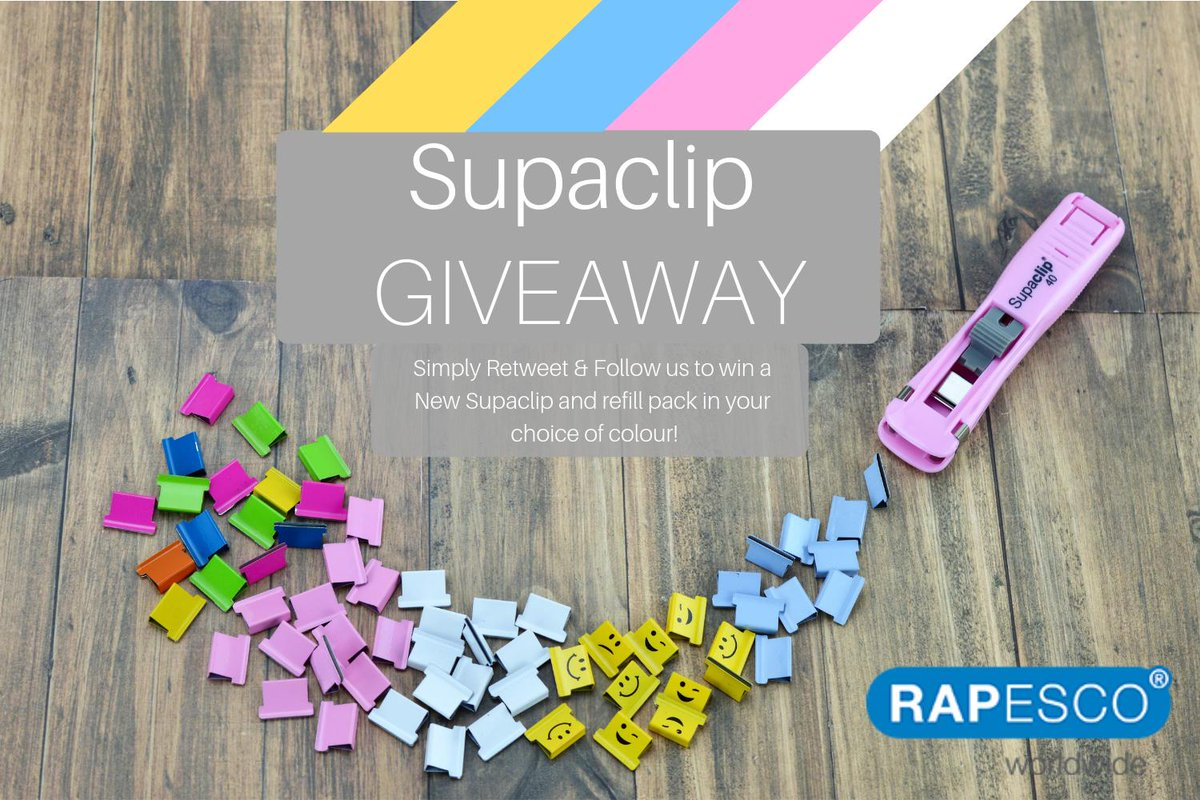 COMPETITION TIME! Win yourself a Rapesco Supaclip and pack of refill clips in your choice of colour! Simply Follow &amp; RT to enter! Winner announced March 29th #FreebieFriday #Giveaway<br>http://pic.twitter.com/1kxcO54cYp