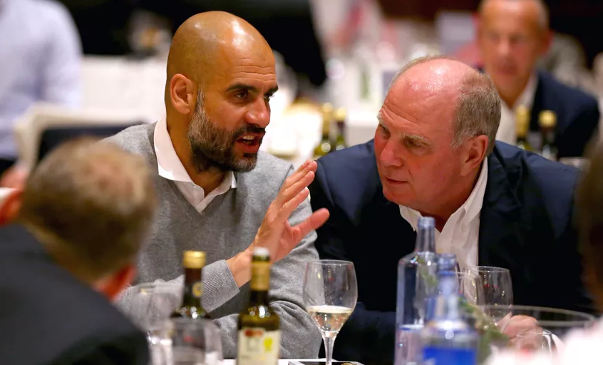 "Uli Hoeness (Bayern president):  ""My friend Pep told me what happens when he wants a player that costs more than €100 million; he puts some videos together of the player and goes to see the Sheikh."""