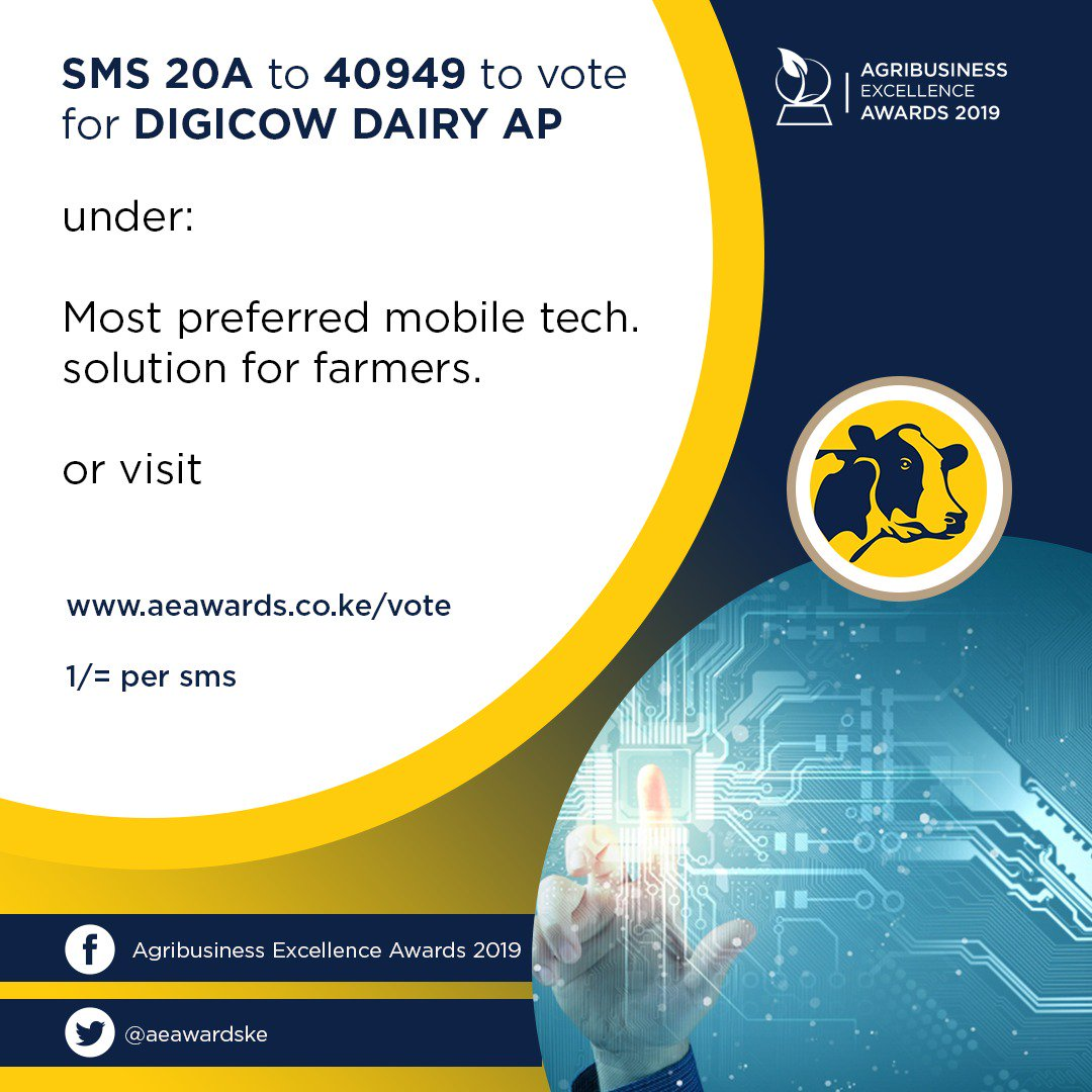 To vote for Digicow Dairy App as the most preferred mobile tech solution for farmers, sms 20a to 40949 at kshs.1 per sms or vote at   http:// aeawards.co.ke/vote/  &nbsp;   in the mobile technology category. @DigicowApp<br>http://pic.twitter.com/ChbMBZQyWB