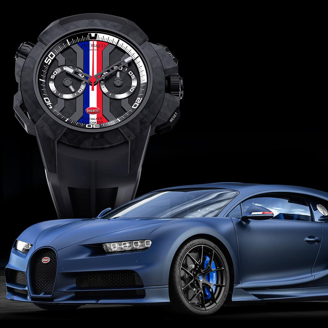 "At the world's leading watch and gem show ""Basel World"" Bugatti's new partner @jacobandco is currently presenting its first two watch creations: The ""Epic X Chrono"" and the ""Twin Turbo Furious Edition"". Inspired by the Chiron Sport ""110 Ans Bugatti"". #Bugatti #JacobandCo #Luxury"