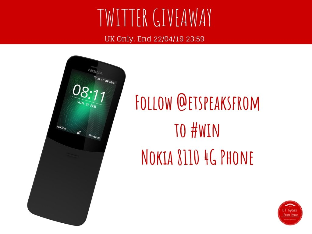 Nokia Phone Giveaway  1. Follow @etspeaksfrom  2. RT this tweet to win Nokia 8110 4G Phone #FreebieFriday  Want to know more about this phone? Read my review here:  https:// etspeaksfromhome.co.uk/2018/09/nokia- 8110-4g-review.html &nbsp; …  Ends 22 April 2019 23:59 UK Only  T&amp;C  https:// etspeaksfromhome.co.uk/giveaway  &nbsp;  <br>http://pic.twitter.com/P93peryTvX