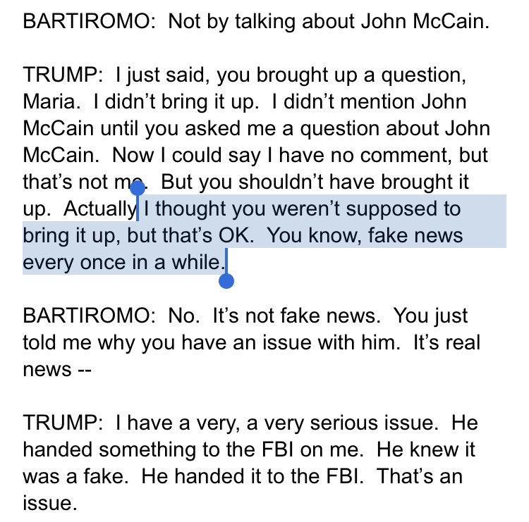 "👀 Trump suggests Fox promised him they wouldn't ask about McCain   ""I thought you weren't supposed to bring it up."""