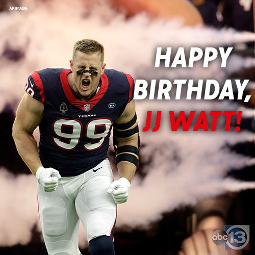 Happy birthday to this guy!   Thanks for being born. Sincerely, @HoustonTexans fans  https:// abc13.com/tag/jj-watt/  &nbsp;  <br>http://pic.twitter.com/EfZq7ur75k